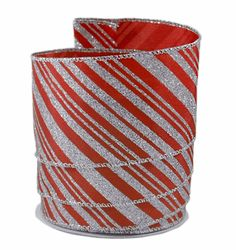 Diagonal Glitter Stripes Silver on Red Satin Wired Ribbon 40 - 2.5in x 10 yards >>> For more information, visit image link.
