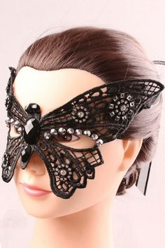 Black Lace Crystal Butterfly Party Mask