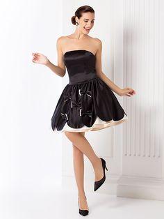 Vestito - Elegante Ispirazione Vintage - Palloncino - Mini - Senza Spalline   2f5f8034330e