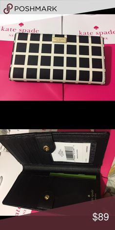 Kate Spade black/white Wellesley Printed Stacy This compact Kate Spade New York Newbury Lane Stacy wallet is wrapped in saffiano finished leather with 14-karat light gold plated hardware. This billfold has a snap closure, and Kate Spades logo staple accents the front. The back features an exterior zippered accordion pocket. The inside features 12 card slots, a clear ID slot and billfold compartments. It is slightly smaller than many at 6.75 inches (L) x 3.5 inches (H) x 1 inch (W). kate…