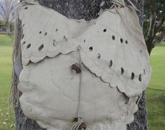 Leather and Lace Layered Fringe Shoulder Bag от arttiiii на Etsy