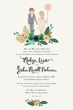Wedding invitation cartoon, would be cute with Dora too