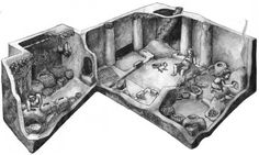 Fig. 3: A reconstruction of everyday life at Çatalhöyük, 9,000 years ago; shallow platforms, benches, defined cooking areas and clay storage bins were arranged into activity zones (reconstruction: Mesa Schumacher).