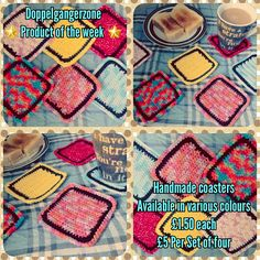 #Doppelgangerzone #Product of the week #handmade #coasters #teatime☕️