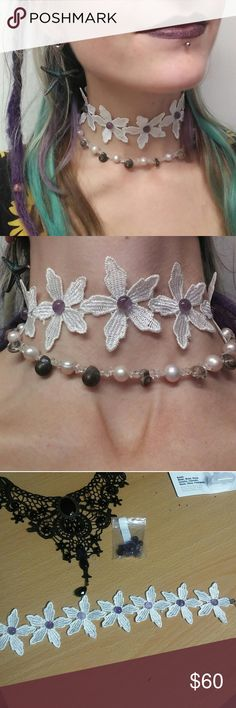 Amethyst Flower Choker Amethyst crystal cabs epoxy ?ber super glued to white lace choker.   Amethyst Stone: It has always been associated with February, the month the Romans dedicated to Neptune, their water-god, and is the traditional birthstone of that month. It is the stone of St. Valentine and faithful love, and signifies ecclesiastical dignity as the Bishop?s Stone. It carries the energy of fire and passion, creativity and spirituality, yet bears the logic of temperance and sobriety…