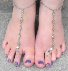 A Pair of Silver Chain and silver Rose Barefoot Sandals Sandles    $14.00 USD