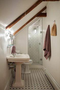 3 Miraculous Useful Ideas: Attic Exterior Lazy Sunday attic conversion door.Attic Insulation Old Houses attic renovation slanted ceiling. Loft Bathroom, Upstairs Bathrooms, Bathroom Small, Bathroom Ideas, Shower Ideas, Bathroom Designs, Master Bathroom, Bathroom Layout, Bathroom Remodeling