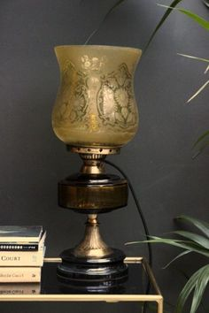 Old Gold Etched Glass Lamp