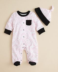 Offspring Infant Girls' Rose Footie & Hat Set - Sizes 0-9 Months  PRICE: $22.00