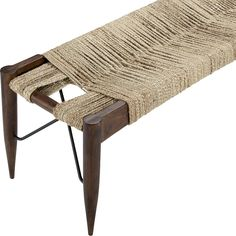 Shop wrap large bench.   Tribal bench inspired by traditional Indian cots greens the room in natural materials.  Jute rope warps/wefts varying tones over open frame handcrafted of solid sustainable acacia wood.
