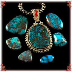 Ultra High Grade Spiderweb Turquoise Necklace and Cabochons from the Hartman Collection - Durango Silver Company, Durango Colorado USA