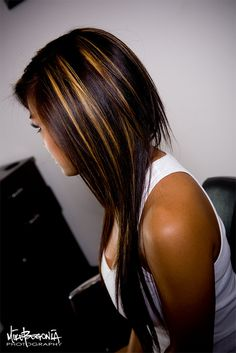 Love Caramel highlights in dark hair