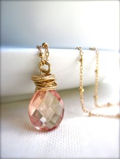 Quartz Gemstone Necklace with Twisted Gold Rings, Handmade Necklace in 14K Gold Fill, Pink Yellow Gemstone Necklace with Satellite Chain by NellBelleDesigns on Etsy https://www.etsy.com/listing/101789002/quartz-gemstone-necklace-with-twisted