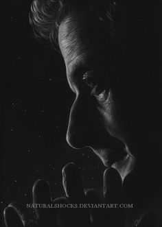 "PLEASE DO NOT REPOST Peter Capaldi as the Doctor. White and grey coloured pencils and white gel pen on black paper. Reference from ""H. Second Shadow Black White Art, Black And White Drawing, Black And White Pictures, Art Doctor Who, 12th Doctor, Portrait Au Crayon, Black Paper Drawing, White Gel Pen, Romantic Pictures"