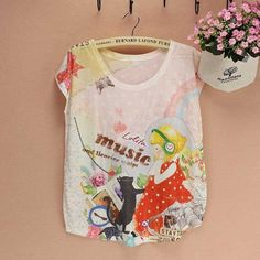 Cat pattern top tees women t-shirt summer dress FREE shipping