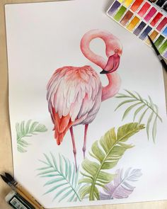 My #flamingo is ready. This was painted on my old favorite - arches hot press. I have to say that this paper can take details and washes…
