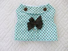 Blue and Brown Polka Dot Dog Harness Vest with Collar. via Etsy.