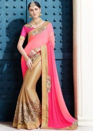 Party Wear Pink Lycra Embroidered Work Saree