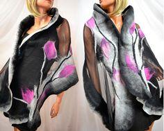 * Schal Kleider magenta * Größe: 1.8 x 0.45m Farben: Amaranth, grau Auf Wunsch eine andere Größe und Farbe (mehr Entwürfe auf www.sklep.alejasztuki.com) Zutaten: natürliche Seide und Wolle...