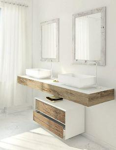 meuble vasque salle de bain blanc-bois-brut-rustique-moderne-fois