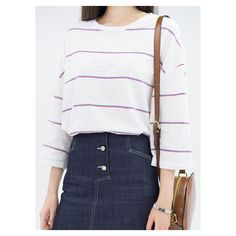 Two-Tone Stripe 3/4 Sleeve T-Shirt ❤ liked on Polyvore
