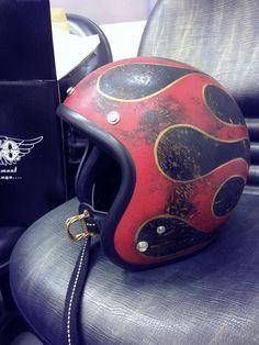 helmet for rides free Bobber Helmets, Cool Bike Helmets, Custom Motorcycle Helmets, Custom Helmets, Motorcycle Gear, Riding Gear, Riding Helmets, Rockers, Baby Helmet