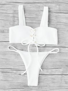 To find out about the Criss Cross Double Strap Ribbed Bikini Set at SHEIN, part of our latest Bikini Sets ready to shop online today! Bikini Set, Bikini Beach, White Bikinis, Summer Bikinis, Beach Wear, Beach Babe, Criss Cross, Cute Bathing Suits, Cute Swimsuits