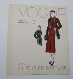 Vintage 1930s Vogue Couturier Dress Pattern Advertising Page  Coat