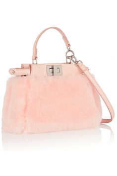 Fendi|Peekaboo micro leather-trimmed shearling shoulder bag|NET-A-PORTER.COM