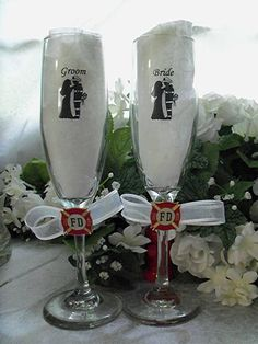 How To Give Wedding Toasts Our Wedding, Wedding Gifts, Dream Wedding, Wedding Stuff, Fireman Wedding, Firefighter Wedding Themes, Fireman Cake, Wedding Toast Samples, Flute Glasses