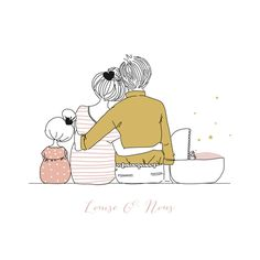 Faire-part de naissance Lovely family (triptyque) by My Lovely Thing pour… - Amandine Gros - Illustration Inspiration, Family Illustration, Cute Illustration, Illustration Mignonne, Family Drawing, 2 Kind, Baby Art, Art Drawings, Doodles