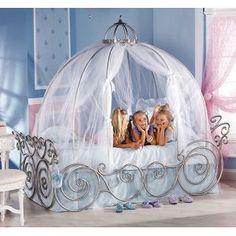 So adorable for a little girls room -Disney Princess Carriage Bed Disney Princess Carriage Bed, Cinderella Carriage Bed, Cinderella Bedroom, Real Cinderella, Cinderella Coach, Cinderella Pumpkin, Princess Room, Little Princess, Disney Princess Bedroom
