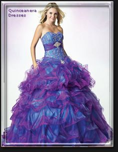 E1308 -Organza pick-up strapless for Quinceanera balls. Two alternative ways to wear this two tone Quinceanera dress.