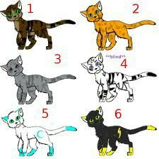 Warrior cats adoptables -4,5 and 6 r taken- by me :3