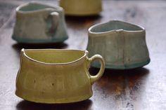 Belly bottomed handled cups from Santa Fe-based American potter Birdie Boone. via Studio KotoKoto