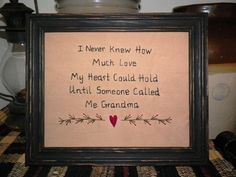 Primitive Sampler Stitchery Picture New Grandmother Grandma Grandparent Gift Idea Present  Country Home Decor Grungy Rustic by wvluckygirl. $13.99, via Etsy.