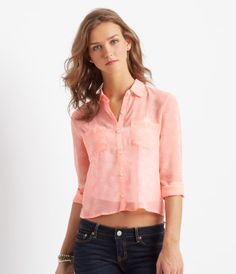a9c098c602160 Long Sleeve Sheer Heart Cropped Woven Top from Aeropostale