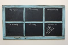 i'm guessing this is an old windowpane, with the glass panes painted in chalkboard paint. a friend of mine just did this: grout + acrylic paint = diy chalkboard paint