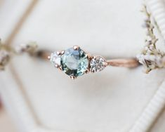 Round moonstone five stone ring, diamond engagement ring, pear side stones, cluster ring, unique eng Gold Knot Ring, Ring Verlobung, Pear Ring, Three Stone Rings, Delicate Rings, Beaded Rings, Diamond Bands, Uncut Diamond, Thing 1