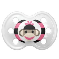 Cute Baby Girl Sock Monkey Black Pink Stripes Baby Pacifier