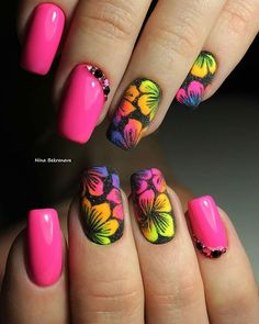 21 - You want to make your nail polishes patterned, here are examples. - 1 We are introducing 2019 marbling nail designs with you. How about meeting y. Summer Acrylic Nails, Cute Acrylic Nails, Summer Nails, Neon Nails, Pink Nails, Fancy Nails, Cute Nails, Nail Art Designs Videos, Cute Acrylic Nail Designs