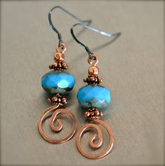 Swirled Copper Wire with Turquoise Blue Picasso by SUNnMOONcafe, #wirework