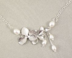 Pearl Necklace April in  Silver  Silver by SomethingShiny101, $21.50