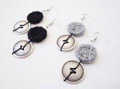Black Earrings, Grey Earrings, Long Button Earrings, Crochet Earrings, String Art Jewelry, Boho Jewelry, Bohemian Earrings, Dangle Earrings