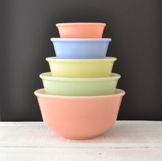 Vintage Pastel Mixing Bowl Set - Hazel Atlas - Nesting Bowls - Fired On Pastel Color - Set of 5. $115.00, via Etsy.