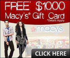 Free $1000 Macy's Gift Card | Get a Free Gift Cards - Free Stuff - Freebies - Free Samples on FreeGiftCardHub.com