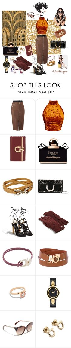 """#AmoFerragamo"" by lizzylima ❤ liked on Polyvore featuring Maybelline, Amanda Wakeley, Salvatore Ferragamo and Anello"