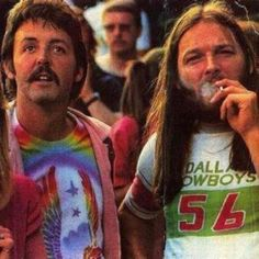 Paul McCartney and David Gilmour (Pink Floyd) watching Led Zepellin together. 1975