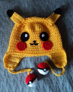 Baby Beanie Knitting Models,, We have prepared beautiful models. Baby beanie knitting models but you Bonnet Crochet, Crochet Cap, Crochet Beanie, Cute Crochet, Pikachu Hat, Pikachu Crochet, Crochet Geek, Crochet Kids Hats, Crochet Clothes