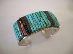 Vintage Navajo PETE SIERRA Heavy Gauge Sterling Silver & Turquoise Cobblestone Inlay Cuff BRACELET.  TurquoiseKachina on Etsy, $829.10